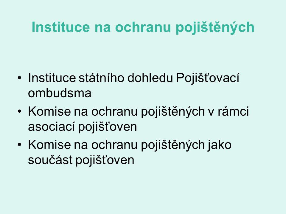 Instituce na ochranu pojištěných Instituce státního dohledu Pojišťovací ombudsma Komise na ochranu pojištěných v rámci asociací pojišťoven Komise na ochranu pojištěných jako součást pojišťoven