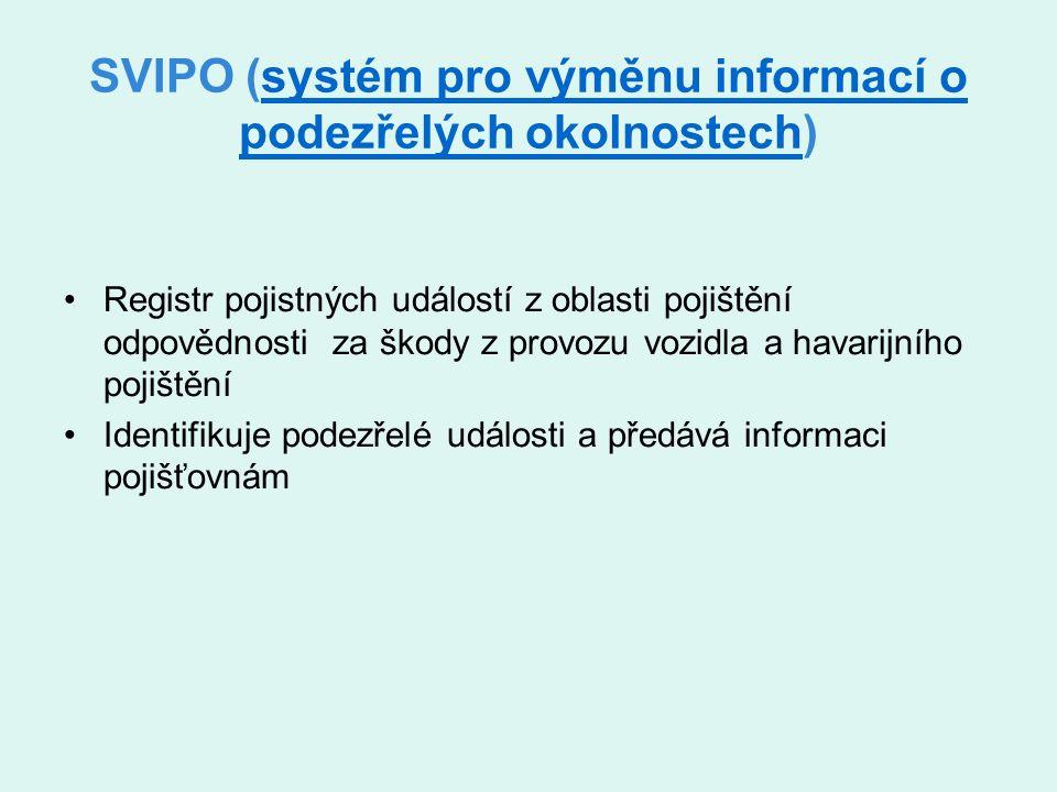 SVIPO (systém pro výměnu informací o podezřelých okolnostech)systém pro výměnu informací o podezřelých okolnostech Registr pojistných událostí z oblasti pojištění odpovědnosti za škody z provozu vozidla a havarijního pojištění Identifikuje podezřelé události a předává informaci pojišťovnám