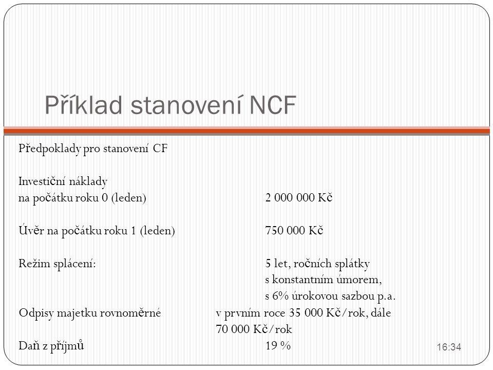 Příklad stanovení NCF P ř edpoklady pro stanovení CF Investi č ní náklady na po č átku roku 0 (leden)2 000 000 K č Úv ě r na po č átku roku 1 (leden)7