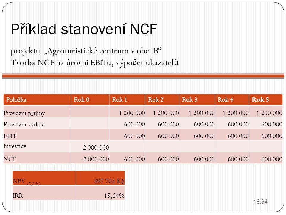 """Příklad stanovení NCF projektu """"Agroturistické centrum v obci B"""" Tvorba NCF na úrovni EBITu, výpo č et ukazatel ů 16:36 PoložkaRok 0Rok 1Rok 2Rok 3Rok"""
