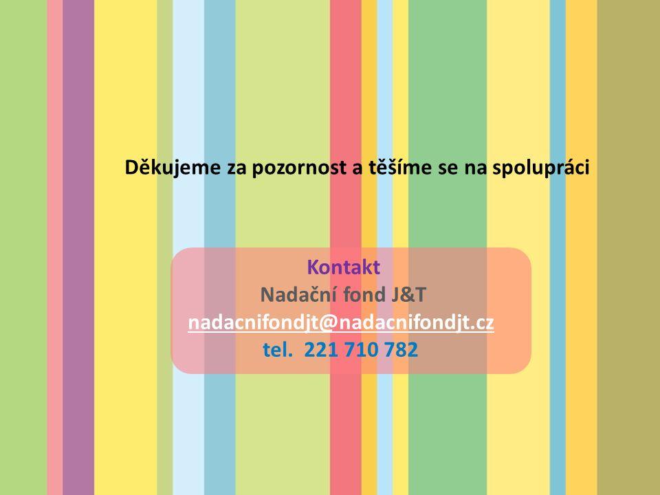 Děkujeme za pozornost a těšíme se na spolupráci Kontakt Nadační fond J&T nadacnifondjt@nadacnifondjt.cz tel.