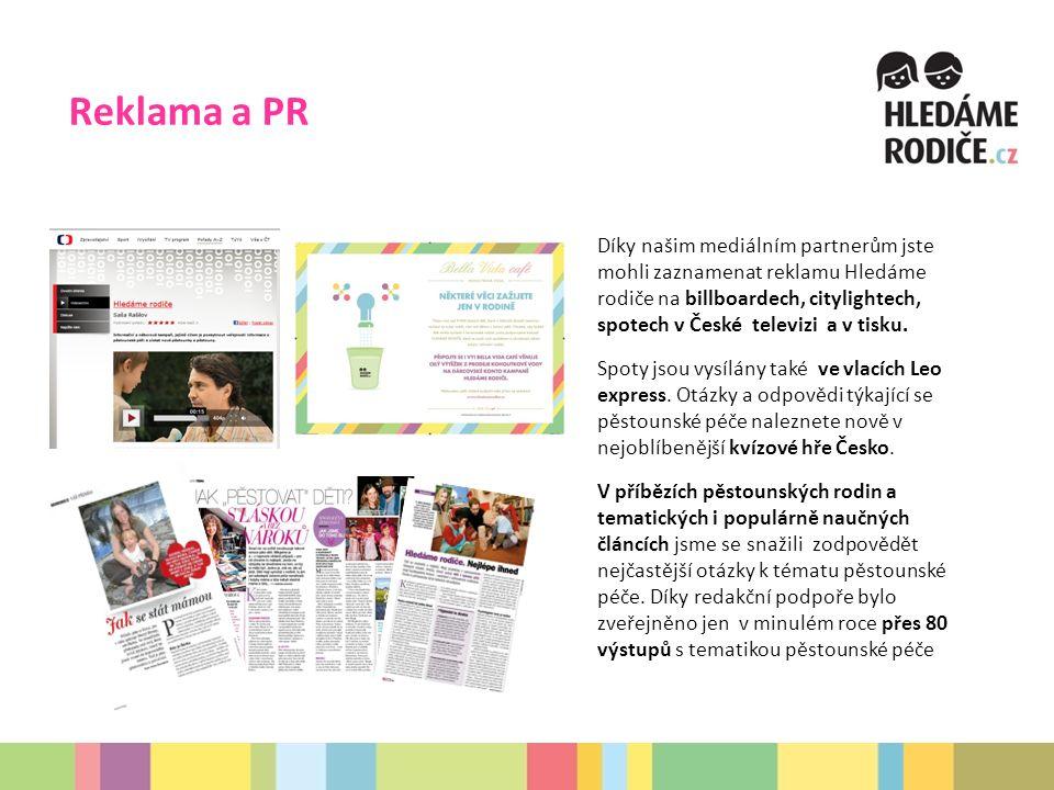 Reklama a PR Díky našim mediálním partnerům jste mohli zaznamenat reklamu Hledáme rodiče na billboardech, citylightech, spotech v České televizi a v tisku.