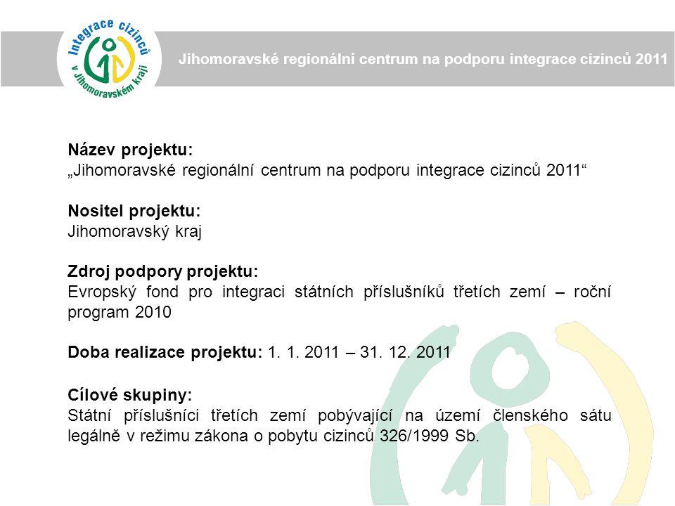 """Název projektu: """"Jihomoravské regionální centrum na podporu integrace cizinců 2011 Nositel projektu: Jihomoravský kraj Zdroj podpory projektu: Evropský fond pro integraci státních příslušníků třetích zemí – roční program 2010 Doba realizace projektu: 1."""