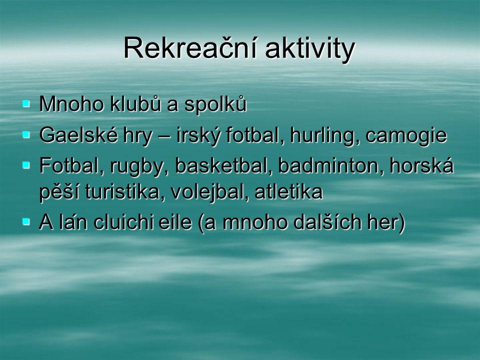 Rekreační aktivity  Mnoho klubů a spolků  Gaelské hry – irský fotbal, hurling, camogie  Fotbal, rugby, basketbal, badminton, horská pěší turistika,