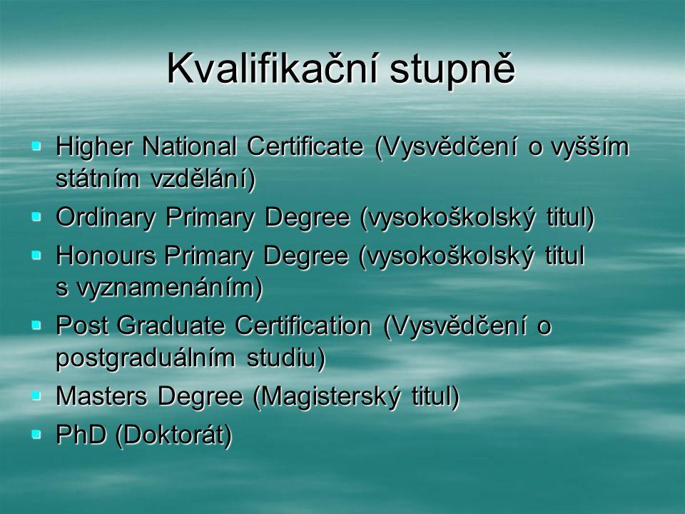 Kvalifikační stupně  Higher National Certificate (Vysvědčení o vyšším státním vzdělání)  Ordinary Primary Degree (vysokoškolský titul)  Honours Pri