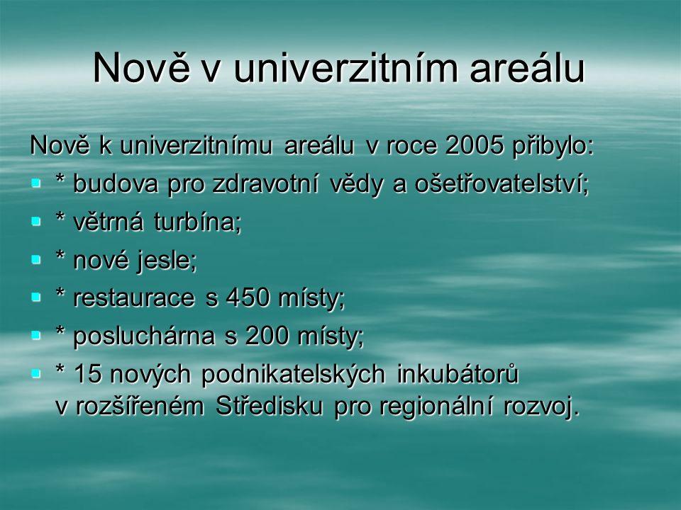 Nově v univerzitním areálu Nově k univerzitnímu areálu v roce 2005 přibylo:  * budova pro zdravotní vědy a ošetřovatelství;  * větrná turbína;  * n