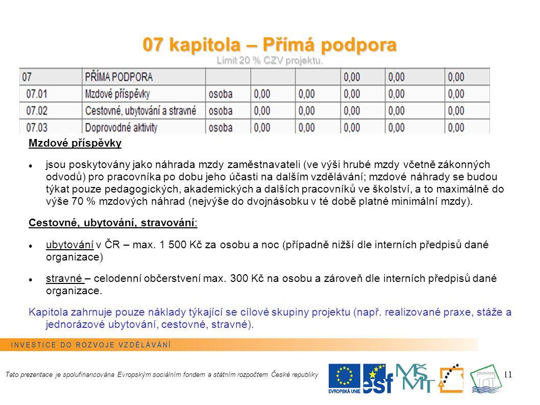 11 07 kapitola – Přímá podpora Limit 20 % CZV projektu.
