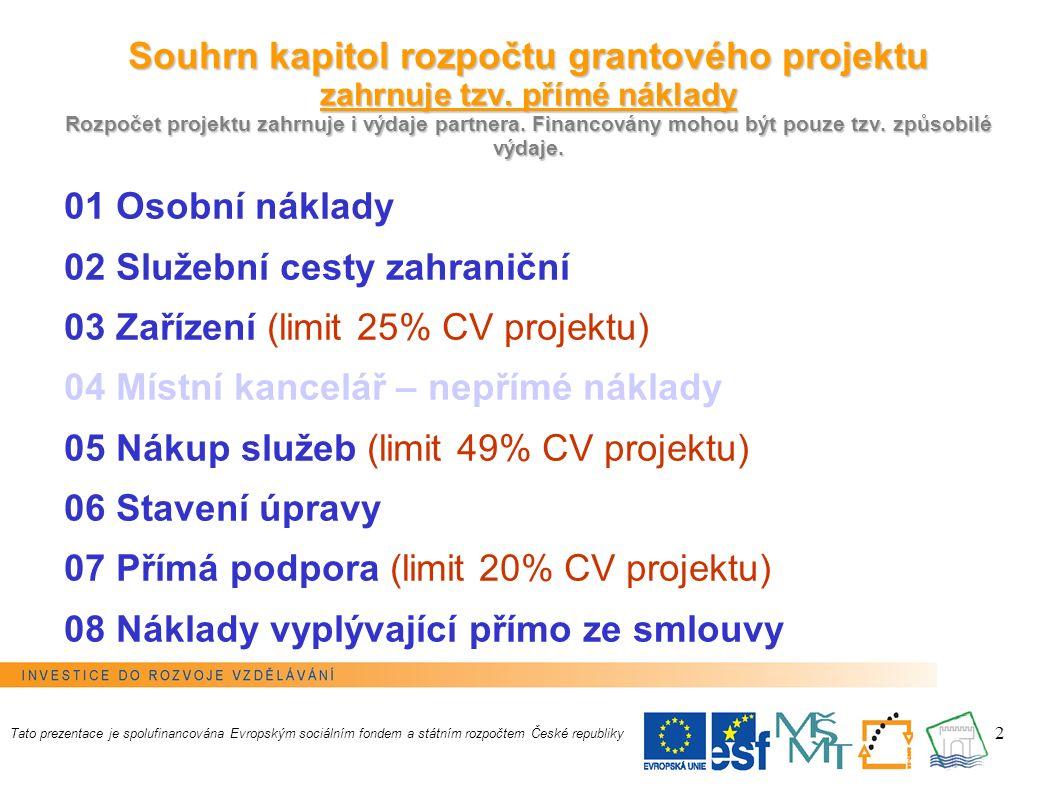13 Rozpočet projektu Investiční výdaje = položky (03.02 + 03.08.01 + 06.02) Neinvestiční výdaje = kapitoly (01+02+03+05+06+07+08) - položky (03.02 + 03.08.01 + 06.02) Křížové financování = položky (03.08.01 + 03.08.02 + 06.02) Tato prezentace je spolufinancována Evropským sociálním fondem a státním rozpočtem České republiky