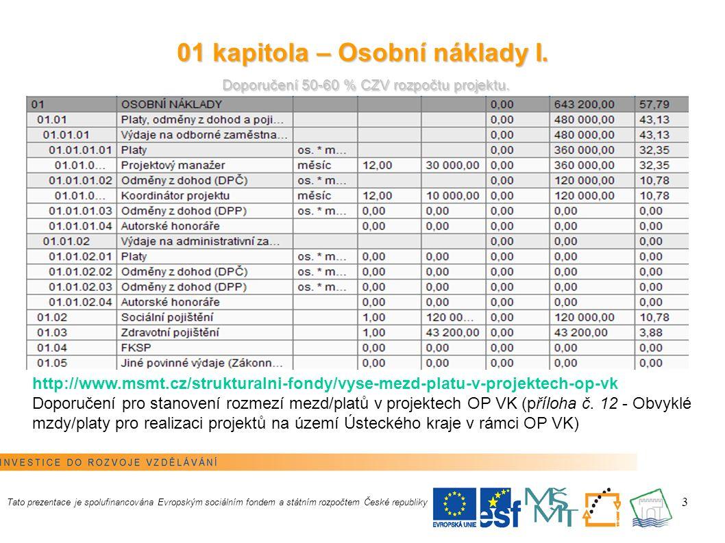 14 Nepřímé náklady I.Do rozpočtu nesmí být nepřímé náklady vůbec zahrnuty.