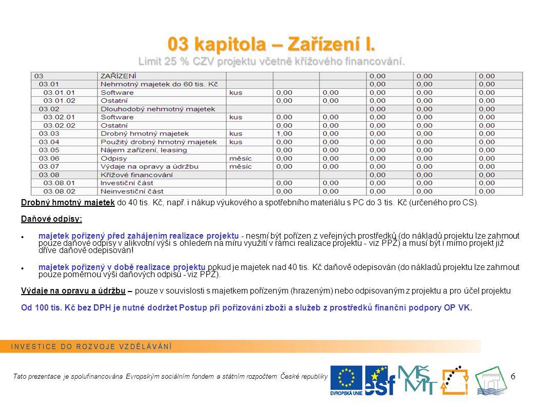 6 03 kapitola – Zařízení I. Limit 25 % CZV projektu včetně křížového financování.
