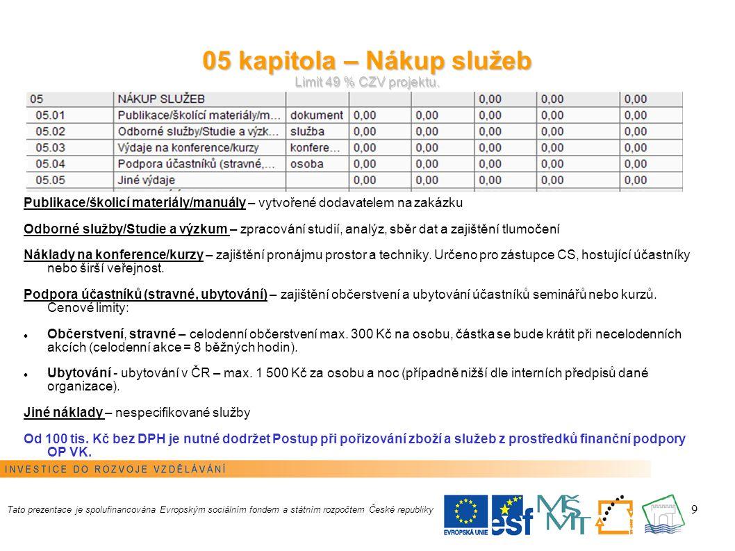 9 05 kapitola – Nákup služeb Limit 49 % CZV projektu.