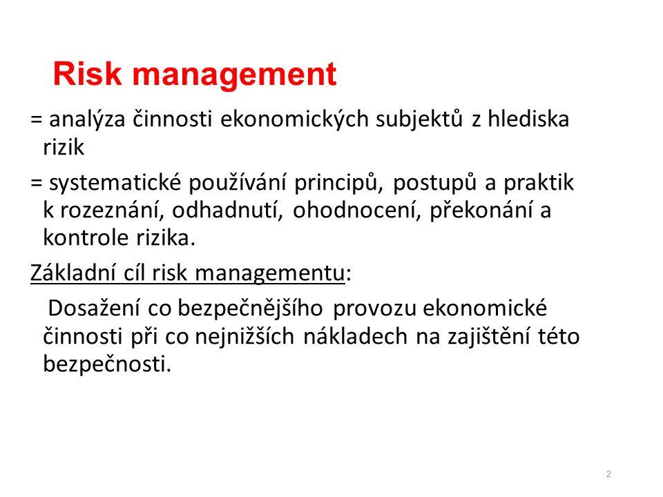 Risk management = analýza činnosti ekonomických subjektů z hlediska rizik = systematické používání principů, postupů a praktik k rozeznání, odhadnutí, ohodnocení, překonání a kontrole rizika.