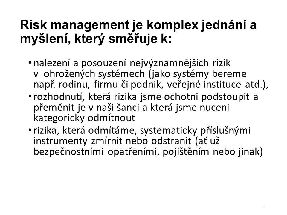 Risk management je komplex jednání a myšlení, který směřuje k: nalezení a posouzení nejvýznamnějších rizik v ohrožených systémech (jako systémy bereme např.
