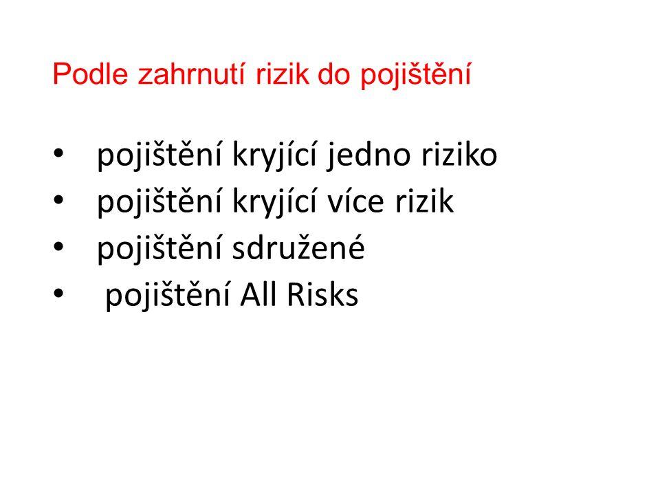 Podle zahrnutí rizik do pojištění pojištění kryjící jedno riziko pojištění kryjící více rizik pojištění sdružené pojištění All Risks