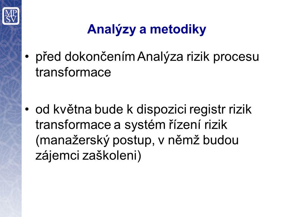 Analýzy a metodiky před dokončením Analýza rizik procesu transformace od května bude k dispozici registr rizik transformace a systém řízení rizik (man