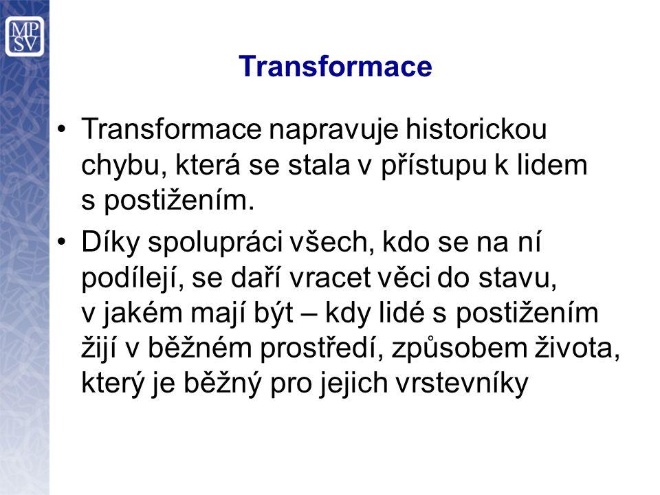 Transformace Transformace napravuje historickou chybu, která se stala v přístupu k lidem s postižením. Díky spolupráci všech, kdo se na ní podílejí, s