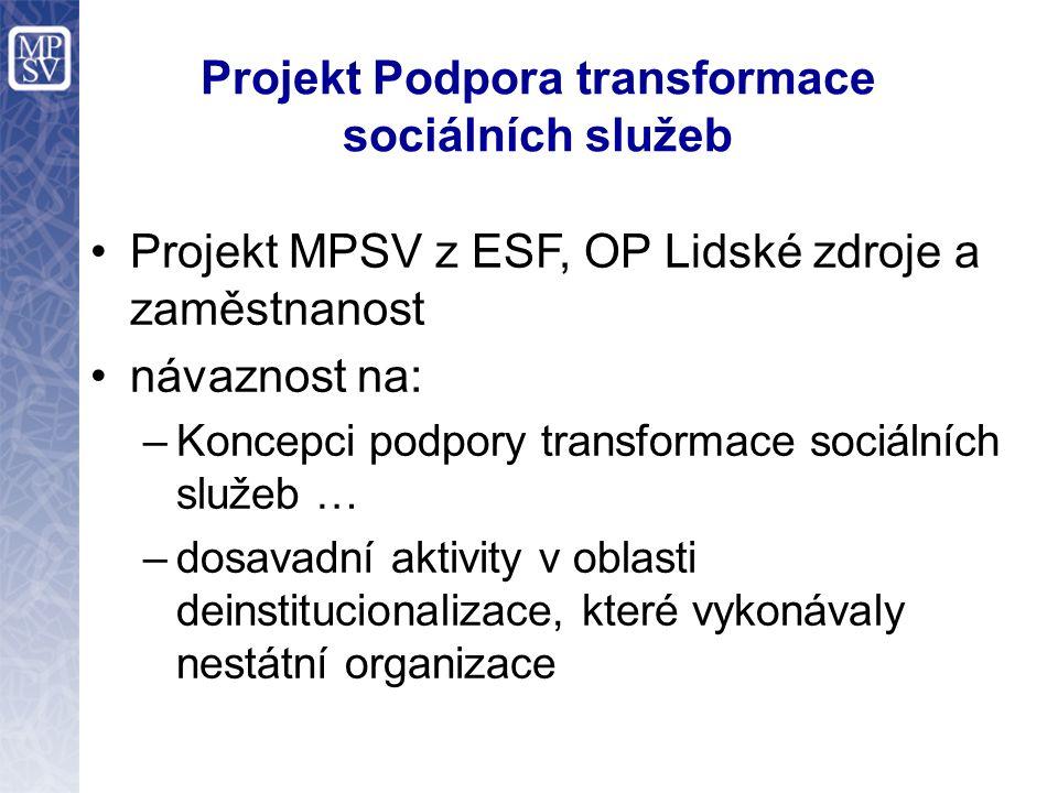 Projekt Podpora transformace sociálních služeb Projekt MPSV z ESF, OP Lidské zdroje a zaměstnanost návaznost na: –Koncepci podpory transformace sociál
