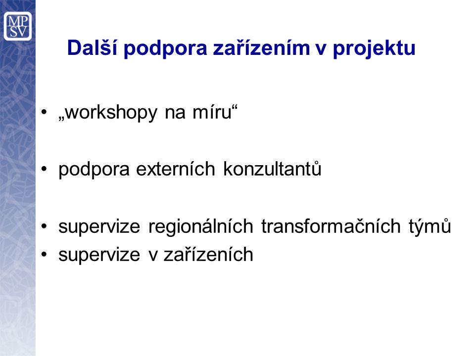"""Další podpora zařízením v projektu """"workshopy na míru"""" podpora externích konzultantů supervize regionálních transformačních týmů supervize v zařízeníc"""