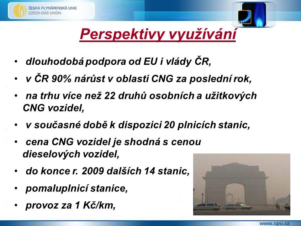 Perspektivy využívání dlouhodobá podpora od EU i vlády ČR, v ČR 90% nárůst v oblasti CNG za poslední rok, na trhu více než 22 druhů osobních a užitkových CNG vozidel, v současné době k dispozici 20 plnicích stanic, cena CNG vozidel je shodná s cenou dieselových vozidel, do konce r.