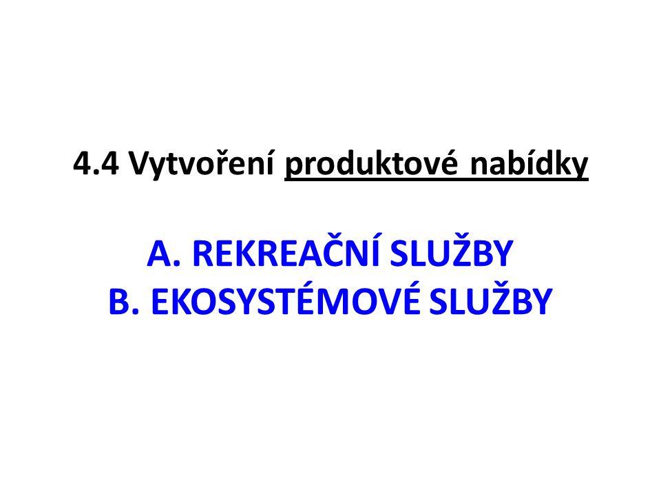 4.4 Vytvoření produktové nabídky A. REKREAČNÍ SLUŽBY B. EKOSYSTÉMOVÉ SLUŽBY