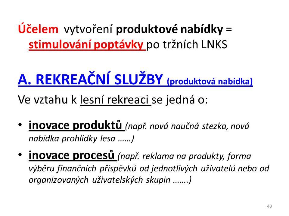 Účelem vytvoření produktové nabídky = stimulování poptávky po tržních LNKS A. REKREAČNÍ SLUŽBY (produktová nabídka) Ve vztahu k lesní rekreaci se jedn