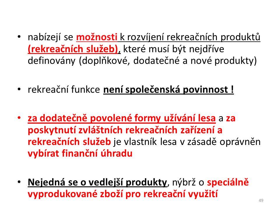 nabízejí se možnosti k rozvíjení rekreačních produktů (rekreačních služeb), které musí být nejdříve definovány (doplňkové, dodatečné a nové produkty)