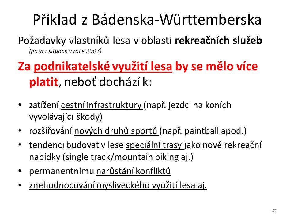 Příklad z Bádenska-Württemberska Požadavky vlastníků lesa v oblasti rekreačních služeb (pozn.: situace v roce 2007) Za podnikatelské využití lesa by s