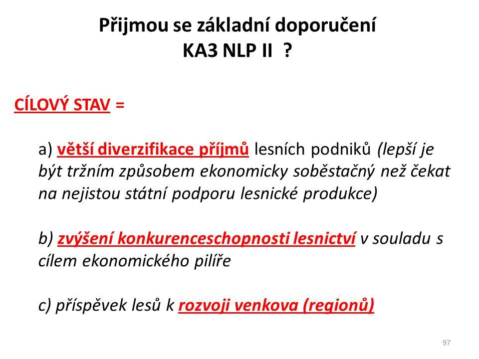 Přijmou se základní doporučení KA3 NLP II ? CÍLOVÝ STAV = a) větší diverzifikace příjmů lesních podniků (lepší je být tržním způsobem ekonomicky soběs