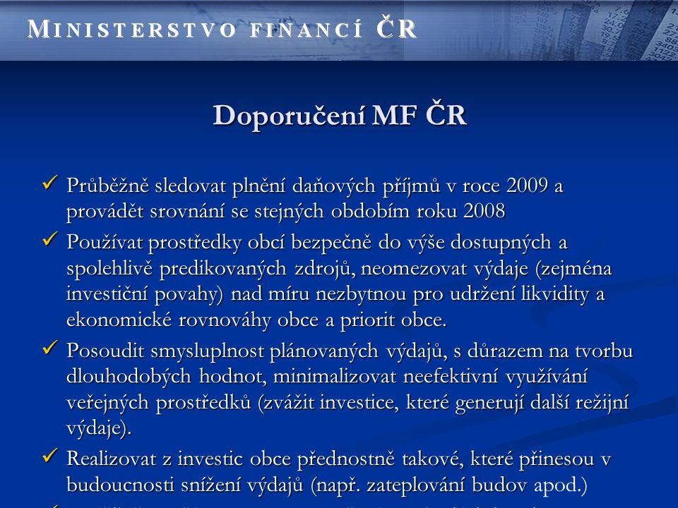 Doporučení MF ČR Průběžně sledovat plnění daňových příjmů v roce 2009 a provádět srovnání se stejných obdobím roku 2008 Průběžně sledovat plnění daňov