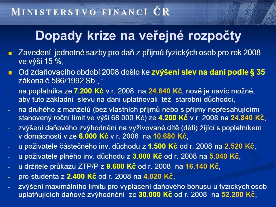 Dopady krize na veřejné rozpočty Zavedení jednotné sazby pro daň z příjmů fyzických osob pro rok 2008 ve výši 15 %, Od zdaňovacího období 2008 došlo k