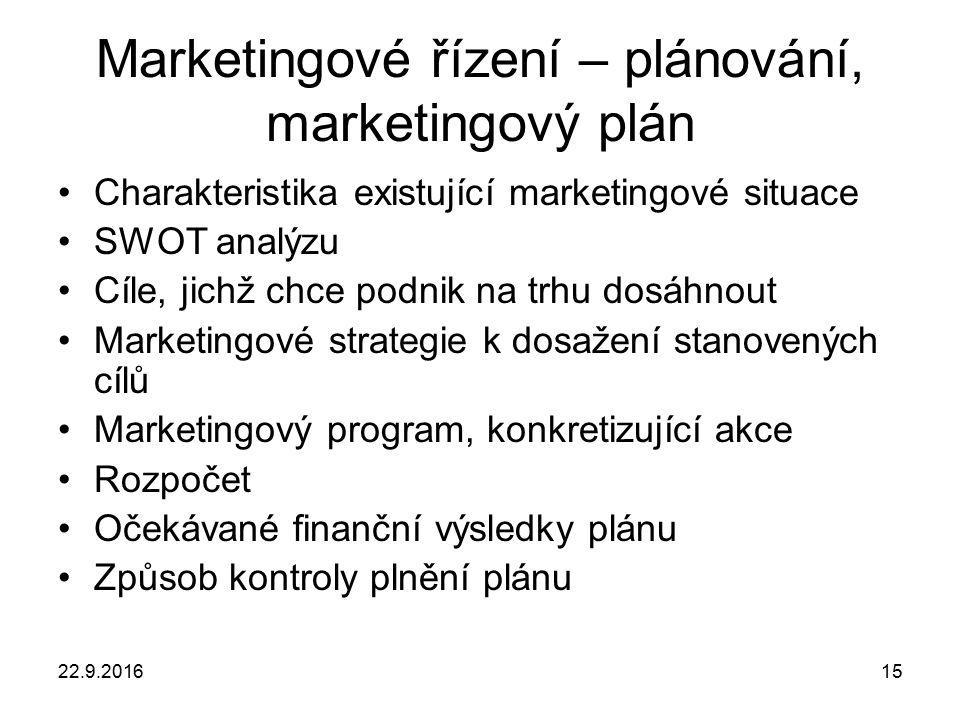 22.9.201615 Marketingové řízení – plánování, marketingový plán Charakteristika existující marketingové situace SWOT analýzu Cíle, jichž chce podnik na trhu dosáhnout Marketingové strategie k dosažení stanovených cílů Marketingový program, konkretizující akce Rozpočet Očekávané finanční výsledky plánu Způsob kontroly plnění plánu