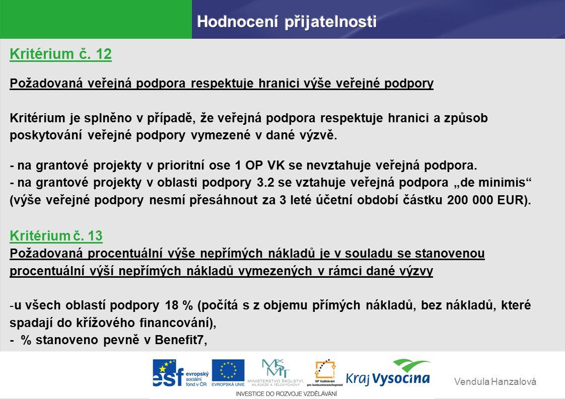 Vendula Hanzalová Kritérium č.