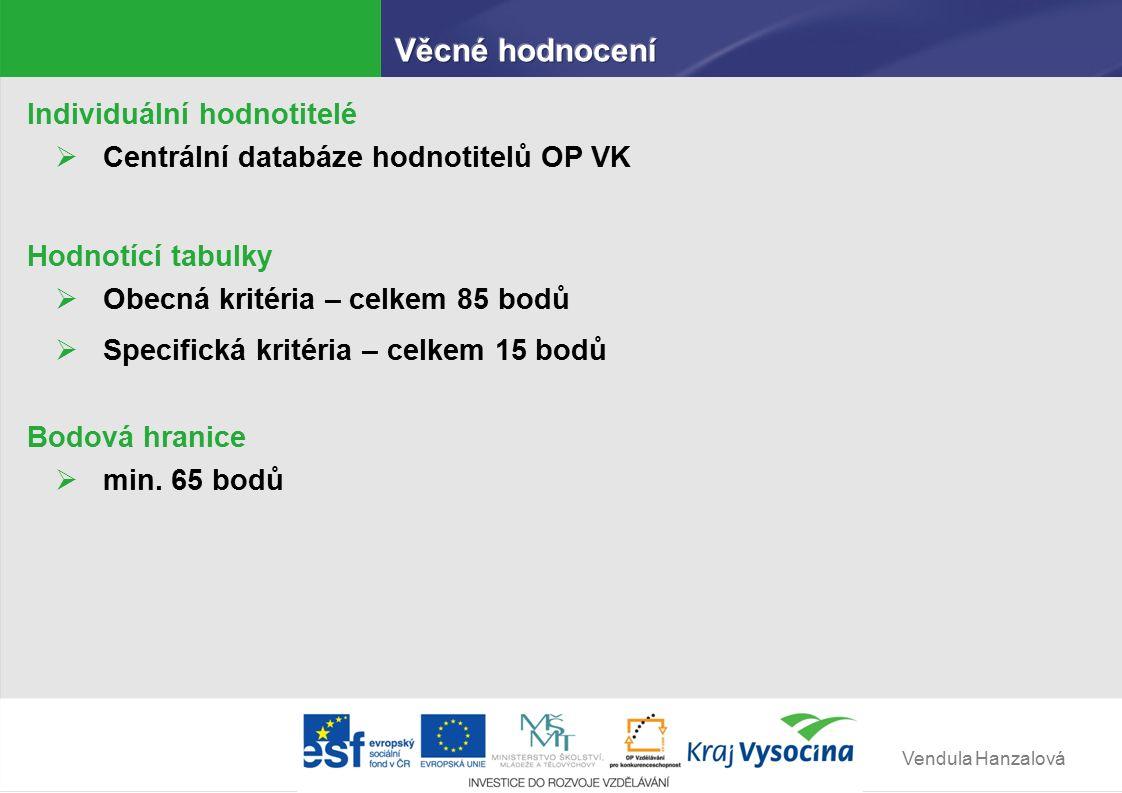 Vendula Hanzalová Individuální hodnotitelé  Centrální databáze hodnotitelů OP VK Hodnotící tabulky  Obecná kritéria – celkem 85 bodů  Specifická kritéria – celkem 15 bodů Bodová hranice  min.