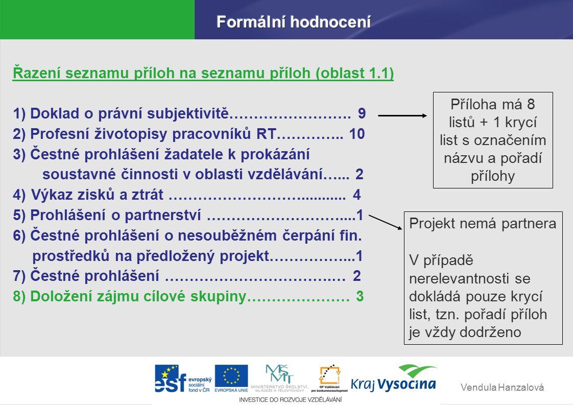 Vendula Hanzalová Řazení seznamu příloh na seznamu příloh (oblast 1.1) 1) Doklad o právní subjektivitě…………………….