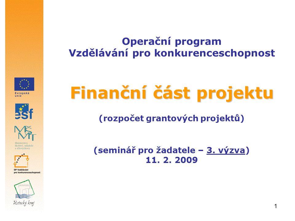 1 Finanční část projektu Operační program Vzdělávání pro konkurenceschopnost Finanční část projektu (rozpočet grantových projektů) (seminář pro žadatele – 3.