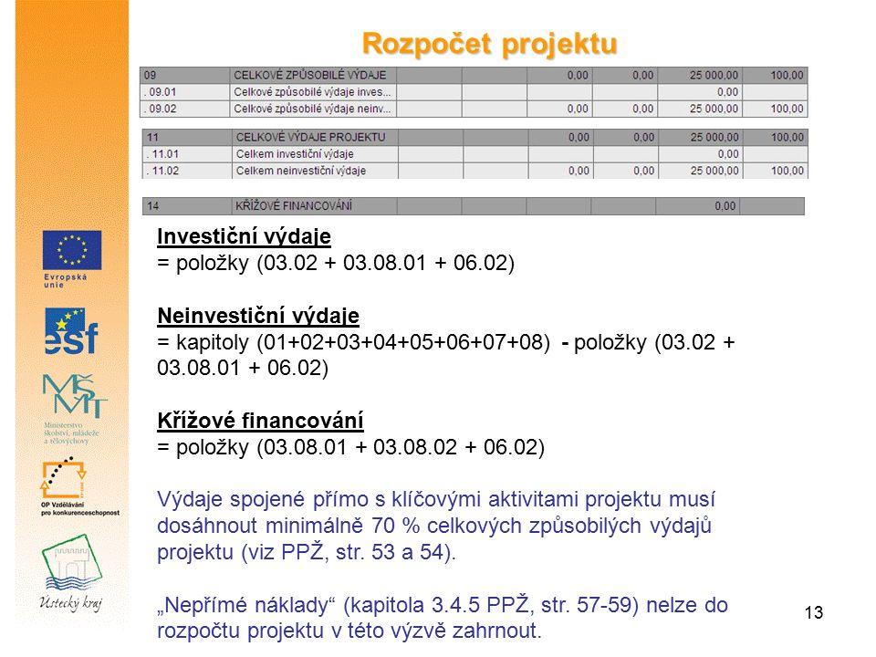 13 Rozpočet projektu Investiční výdaje = položky (03.02 + 03.08.01 + 06.02) Neinvestiční výdaje = kapitoly (01+02+03+04+05+06+07+08) - položky (03.02 + 03.08.01 + 06.02) Křížové financování = položky (03.08.01 + 03.08.02 + 06.02) Výdaje spojené přímo s klíčovými aktivitami projektu musí dosáhnout minimálně 70 % celkových způsobilých výdajů projektu (viz PPŽ, str.
