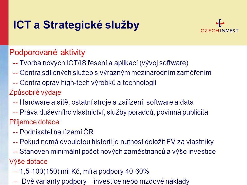 ICT a Strategické služby Podporované aktivity -- Tvorba nových ICT/IS řešení a aplikací (vývoj software) -- Centra sdílených služeb s výrazným mezinár