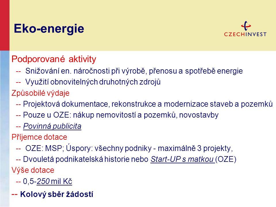 Eko-energie Podporované aktivity -- Snižování en. náročnosti při výrobě, přenosu a spotřebě energie -- Využití obnovitelných druhotných zdrojů Způsobi