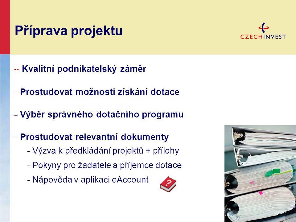 Příprava projektu ╌ Kvalitní podnikatelský záměr ╌ Prostudovat možnosti získání dotace ╌ Výběr správného dotačního programu ╌ Prostudovat relevantní d