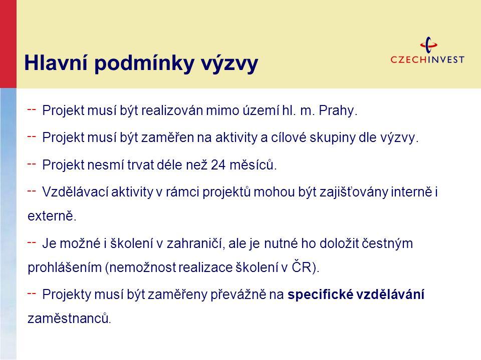 Hlavní podmínky výzvy ╌ Projekt musí být realizován mimo území hl. m. Prahy. ╌ Projekt musí být zaměřen na aktivity a cílové skupiny dle výzvy. ╌ Proj