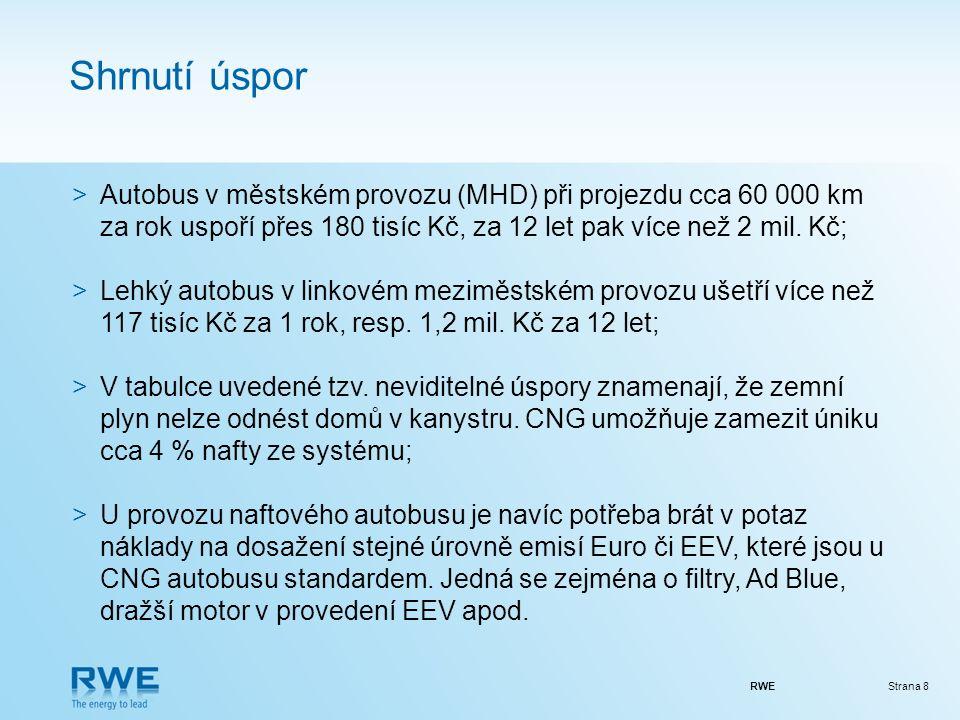 RWEStrana 8 Shrnutí úspor >Autobus v městském provozu (MHD) při projezdu cca 60 000 km za rok uspoří přes 180 tisíc Kč, za 12 let pak více než 2 mil.