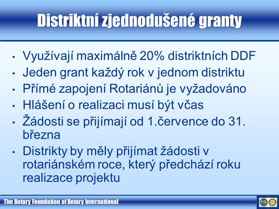 The Rotary Foundation of Rotary International Distriktní zjednodušené granty Využívají maximálně 20% distriktních DDF Jeden grant každý rok v jednom distriktu Přímé zapojení Rotariánů je vyžadováno Hlášení o realizaci musí být včas Žádosti se přijímají od 1.července do 31.