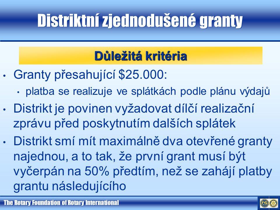 The Rotary Foundation of Rotary International Distriktní zjednodušené granty Granty přesahující $25.000: platba se realizuje ve splátkách podle plánu
