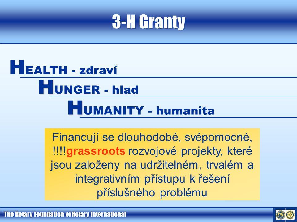 The Rotary Foundation of Rotary International 3-H Granty Financují se dlouhodobé, svépomocné, !!!!grassroots rozvojové projekty, které jsou založeny n