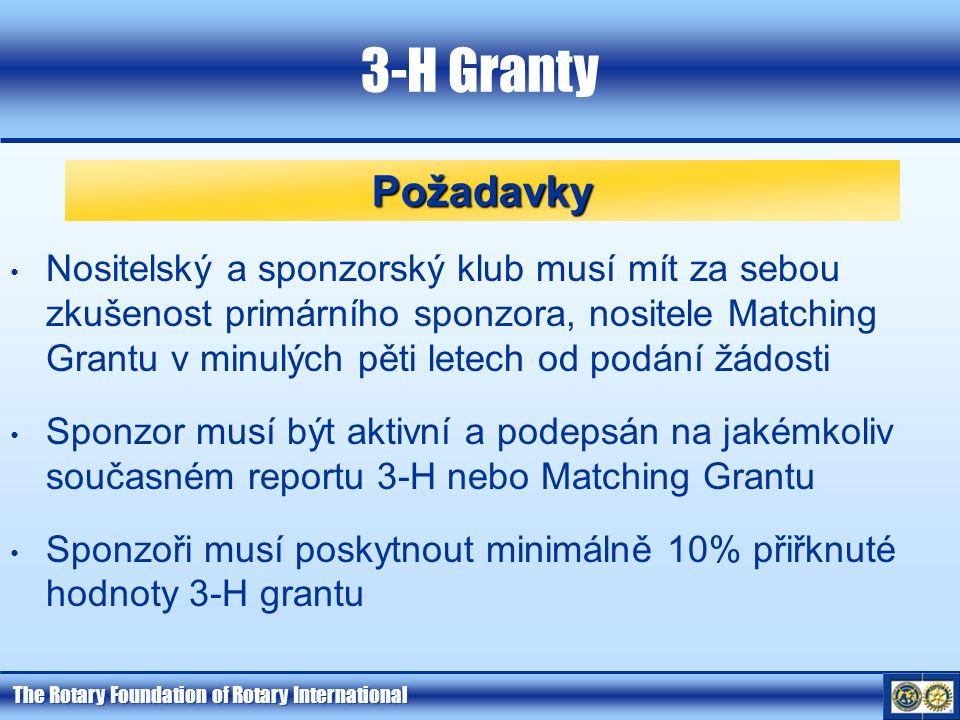 The Rotary Foundation of Rotary International 3-H Granty Požadavky Nositelský a sponzorský klub musí mít za sebou zkušenost primárního sponzora, nositele Matching Grantu v minulých pěti letech od podání žádosti Sponzor musí být aktivní a podepsán na jakémkoliv současném reportu 3-H nebo Matching Grantu Sponzoři musí poskytnout minimálně 10% přiřknuté hodnoty 3-H grantu
