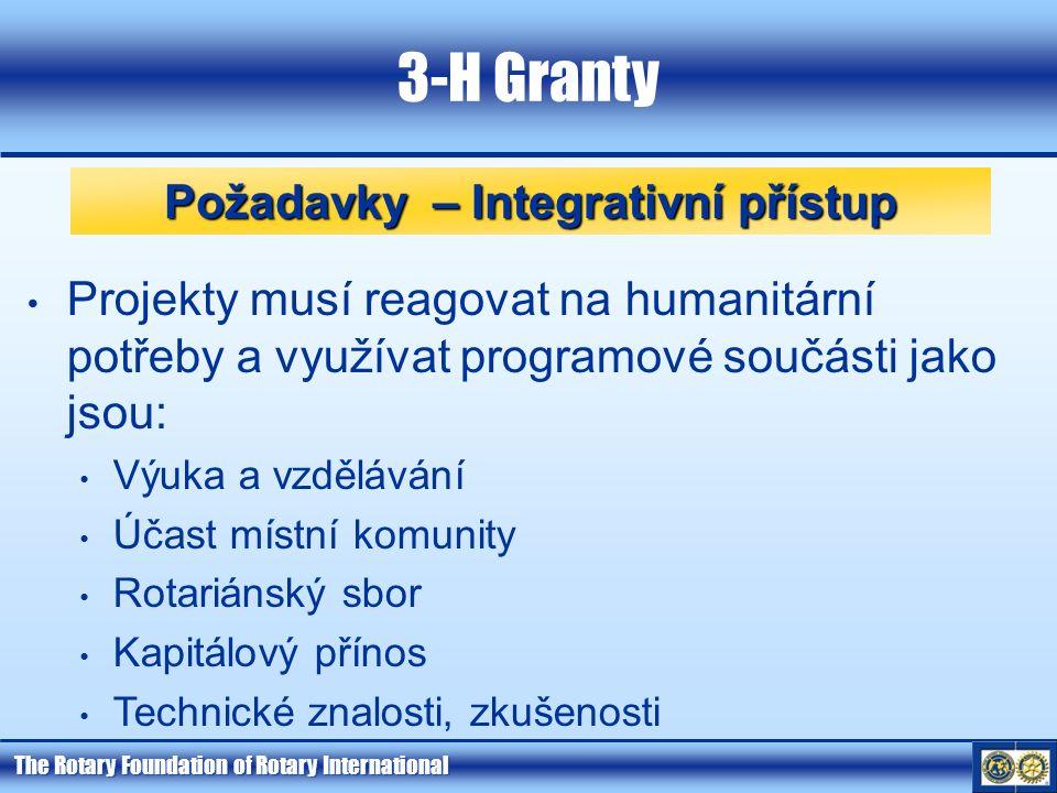 The Rotary Foundation of Rotary International 3-H Granty Požadavky – Integrativní přístup Projekty musí reagovat na humanitární potřeby a využívat programové součásti jako jsou: Výuka a vzdělávání Účast místní komunity Rotariánský sbor Kapitálový přínos Technické znalosti, zkušenosti