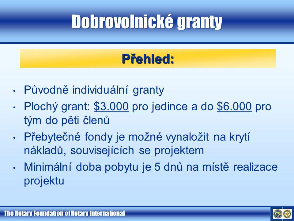 The Rotary Foundation of Rotary International Dobrovolnické granty Původně individuální granty Plochý grant: $3.000 pro jedince a do $6.000 pro tým do pěti členů Přebytečné fondy je možné vynaložit na krytí nákladů, souvisejících se projektem Minimální doba pobytu je 5 dnů na místě realizace projektu Přehled: