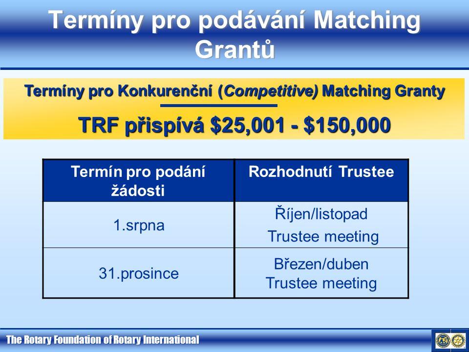 The Rotary Foundation of Rotary International Termíny pro podávání Matching Grantů Termín pro podání žádosti Rozhodnutí Trustee 1.srpna Říjen/listopad Trustee meeting 31.prosince Březen/duben Trustee meeting Termíny pro Konkurenční (Competitive) Matching Granty TRF přispívá $25,001 - $150,000
