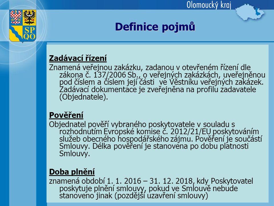 5 Definice pojmů Zadávací řízení Znamená veřejnou zakázku, zadanou v otevřeném řízení dle zákona č.