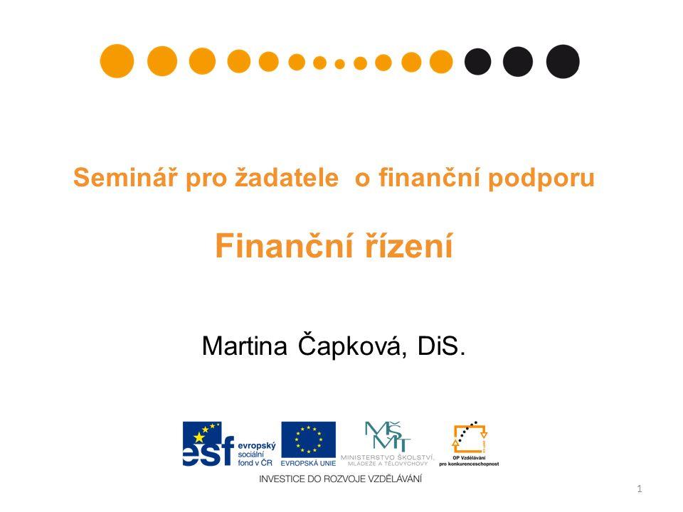 Seminář pro žadatele o finanční podporu Finanční řízení Martina Čapková, DiS. 1